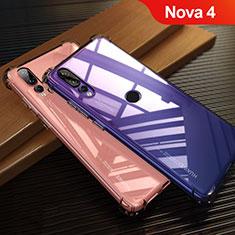 Silikon Schutzhülle Ultra Dünn Tasche Durchsichtig Transparent T12 für Huawei Nova 4 Rot