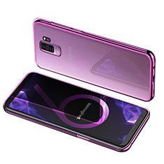 Silikon Schutzhülle Ultra Dünn Tasche Durchsichtig Transparent T12 für Samsung Galaxy S9 Plus Violett