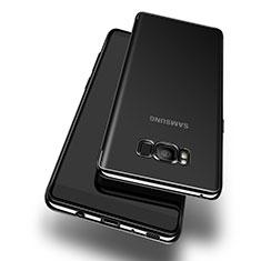 Silikon Schutzhülle Ultra Dünn Tasche Durchsichtig Transparent T14 für Samsung Galaxy S8 Schwarz