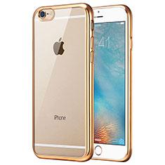 Silikon Schutzhülle Ultra Dünn Tasche Durchsichtig Transparent T16 für Apple iPhone 6S Gold