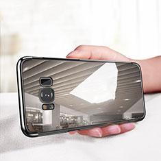 Silikon Schutzhülle Ultra Dünn Tasche Durchsichtig Transparent T18 für Samsung Galaxy S8 Schwarz