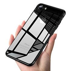 Silikon Schutzhülle Ultra Dünn Tasche Durchsichtig Transparent T19 für Apple iPhone 7 Schwarz