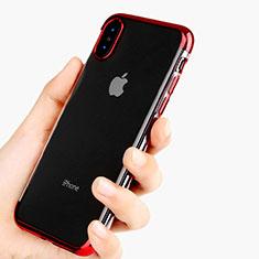 Silikon Schutzhülle Ultra Dünn Tasche Durchsichtig Transparent V11 für Apple iPhone Xs Max Rot