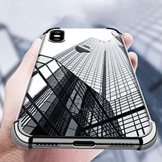Silikon Schutzhülle Ultra Dünn Tasche Durchsichtig Transparent V14 für Apple iPhone Xs Max Schwarz