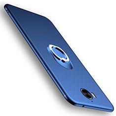 Silikon Schutzhülle Ultra Dünn Tasche Silikon mit Fingerring Ständer für Huawei Y6 (2017) Blau