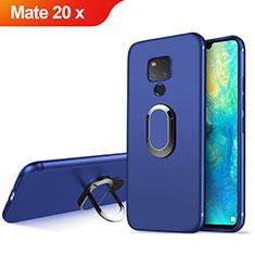 Silikon Schutzhülle Ultra Dünn Tasche Silikon mit Magnetisch Fingerring Ständer für Huawei Mate 20 X 5G Blau