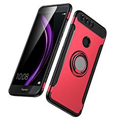 Silikon Schutzhülle und Kunststoff Tasche mit Fingerring Ständer für Huawei Honor 8 Rot