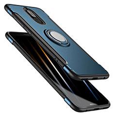 Silikon Schutzhülle und Kunststoff Tasche mit Fingerring Ständer für Huawei Mate 10 Lite Blau