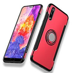 Silikon Schutzhülle und Kunststoff Tasche mit Fingerring Ständer für Huawei P20 Rot