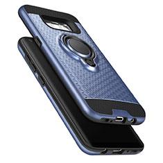Silikon Schutzhülle und Kunststoff Tasche mit Fingerring Ständer für Samsung Galaxy S8 Blau