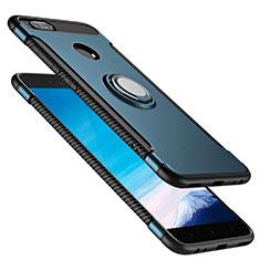 Silikon Schutzhülle und Kunststoff Tasche mit Fingerring Ständer für Xiaomi Mi A1 Blau