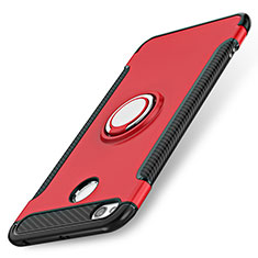 Silikon Schutzhülle und Kunststoff Tasche mit Fingerring Ständer für Xiaomi Redmi 3S Rot