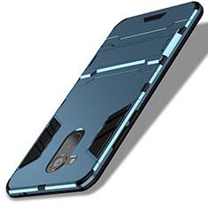 Silikon Schutzhülle und Kunststoff Tasche mit Ständer für Huawei Honor V9 Play Blau