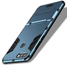 Silikon Schutzhülle und Kunststoff Tasche mit Ständer für Huawei P Smart Blau