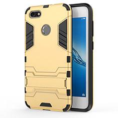 Silikon Schutzhülle und Kunststoff Tasche mit Ständer für Huawei P9 Lite Mini Gold