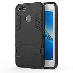 Silikon Schutzhülle und Kunststoff Tasche mit Ständer für Huawei Y6 Pro (2017) Schwarz
