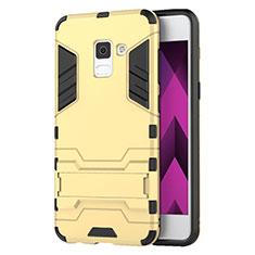 Silikon Schutzhülle und Kunststoff Tasche mit Ständer für Samsung Galaxy A5 (2018) A530F Gold