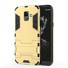 Silikon Schutzhülle und Kunststoff Tasche mit Ständer für Samsung Galaxy A6 (2018) Dual SIM Gold