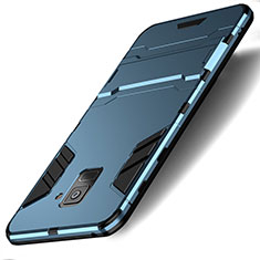 Silikon Schutzhülle und Kunststoff Tasche mit Ständer für Samsung Galaxy A8 (2018) Duos A530F Cyan