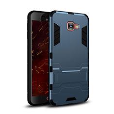 Silikon Schutzhülle und Kunststoff Tasche mit Ständer für Samsung Galaxy C7 SM-C7000 Blau