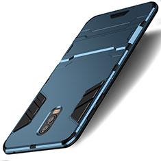 Silikon Schutzhülle und Kunststoff Tasche mit Ständer für Samsung Galaxy C8 C710F Cyan