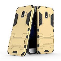 Silikon Schutzhülle und Kunststoff Tasche mit Ständer für Samsung Galaxy Grand Prime Pro (2018) Gold