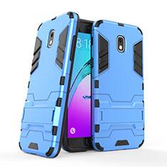 Silikon Schutzhülle und Kunststoff Tasche mit Ständer für Samsung Galaxy J3 (2018) SM-J377A Blau