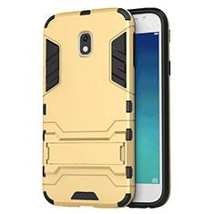 Silikon Schutzhülle und Kunststoff Tasche mit Ständer für Samsung Galaxy J3 (2018) SM-J377A Gold