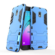 Silikon Schutzhülle und Kunststoff Tasche mit Ständer für Samsung Galaxy J3 Star Blau