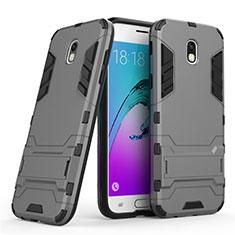 Silikon Schutzhülle und Kunststoff Tasche mit Ständer für Samsung Galaxy J5 (2017) SM-J750F Grau
