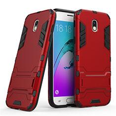 Silikon Schutzhülle und Kunststoff Tasche mit Ständer für Samsung Galaxy J5 (2017) SM-J750F Rot