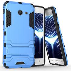 Silikon Schutzhülle und Kunststoff Tasche mit Ständer für Samsung Galaxy J5 (2017) Version Americaine Blau