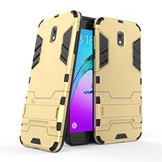 Silikon Schutzhülle und Kunststoff Tasche mit Ständer für Samsung Galaxy J7 (2018) J737 Gold