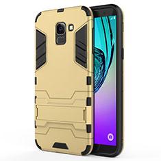 Silikon Schutzhülle und Kunststoff Tasche mit Ständer für Samsung Galaxy On6 (2018) J600F J600G Gold