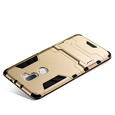 Silikon Schutzhülle und Kunststoff Tasche mit Ständer für Xiaomi Mi 5S Plus Gold