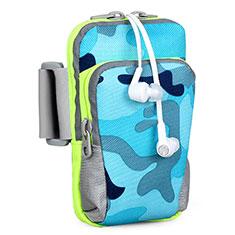 Sport Armband Handytasche Sportarmband Laufen Joggen Universal B23 für HTC Butterfly 2 Blau