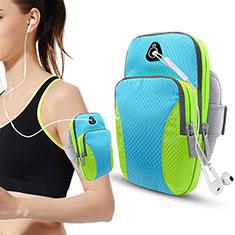 Sport Armband Tasche Sportarmband Laufen Joggen Diamant Universal B21 für HTC Butterfly 2 Hellblau