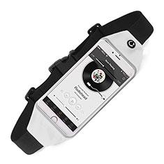 Sport Quertasche Schutz Hülle Laufen Joggen Universal für Sony Xperia E5 Weiß