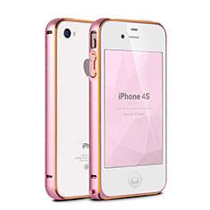 Tasche Luxus Aluminium Metall Rahmen für Apple iPhone 4 Rosa