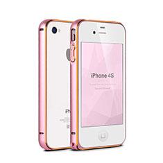 Tasche Luxus Aluminium Metall Rahmen für Apple iPhone 4S Rosa
