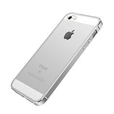 Tasche Luxus Aluminium Metall Rahmen für Apple iPhone SE Silber