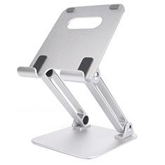 Universal Faltbare Ständer Tablet Halter Halterung Flexibel K20 für Apple iPad 10.2 (2020) Silber