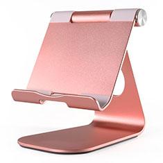 Universal Faltbare Ständer Tablet Halter Halterung Flexibel K23 für Huawei MateBook HZ-W09 Rosegold