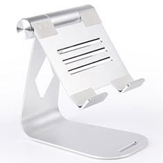 Universal Faltbare Ständer Tablet Halter Halterung Flexibel K25 für Huawei MateBook HZ-W09 Silber