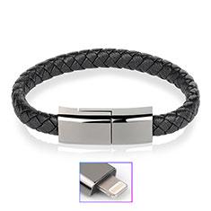 USB Ladekabel Kabel 20cm S02 für Apple iPhone 11 Schwarz