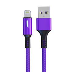 USB Ladekabel Kabel D21 für Apple iPhone 5S Violett