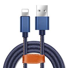 USB Ladekabel Kabel L04 für Apple iPhone 11 Blau