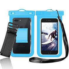 Wasserdicht Unterwasser Handy Tasche Universal W05 für Oppo A15 Blau