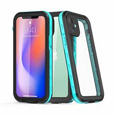 Wasserdicht Unterwasser Silikon Hülle Handyhülle und Kunststoff Waterproof Schutzhülle 360 Grad Ganzkörper Tasche für Apple iPhone 12 Mini Cyan