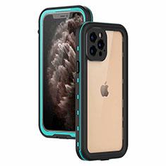 Wasserdicht Unterwasser Silikon Hülle Handyhülle und Kunststoff Waterproof Schutzhülle 360 Grad Ganzkörper Tasche für Apple iPhone 12 Pro Cyan